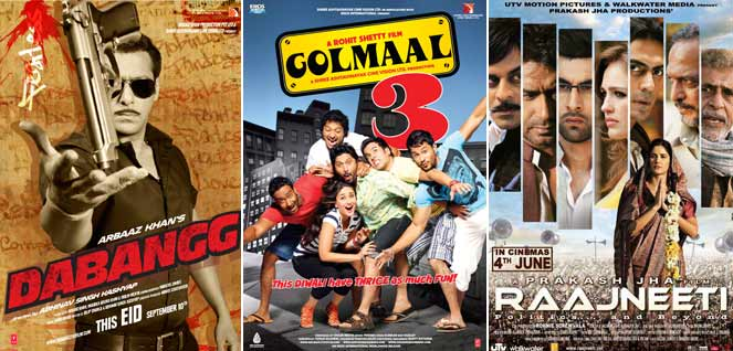 Dabangg Movie Poster, Golmaal 3 Movie Poster, Raajneeti Movie Poster