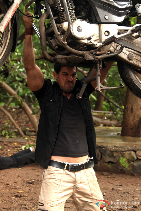 John Abraham flings a bike in Force Movie