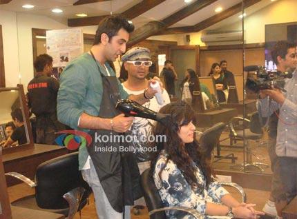 Ranbir Kapoor At Aalim's Hair Academy