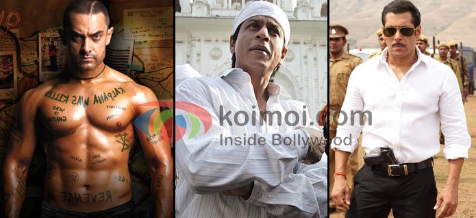Aamir Khan (Ghajini), Shah Rukh Khan (Rab Ne Bana Di Jodi), Salman Khan (Dabangg)