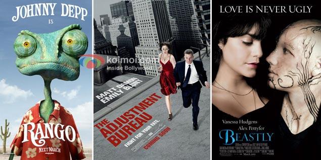 Rango Movie Poster, The Adjustment Bureau Movie Poster, Beastly Movie Poster