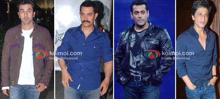 Ranbir Kapoor, Aamir Khan, Salman Khan, Shah Rukh Khan