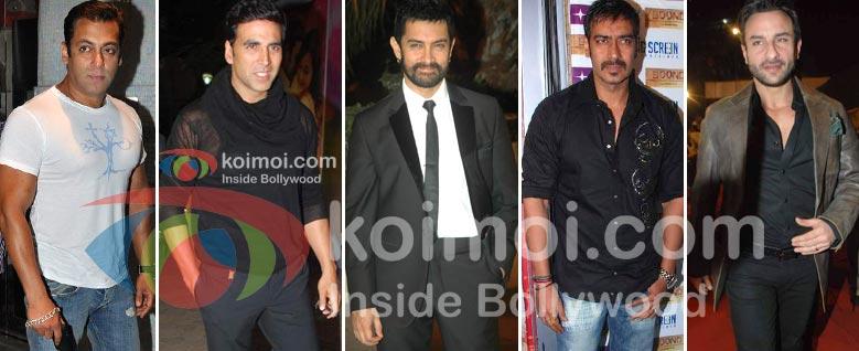 Salman Khan, Akshay Kumar, Aamir Khan, Ajay Devgan, Saif Ali Khan