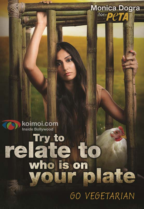 Monica Dogra Caged For PETA