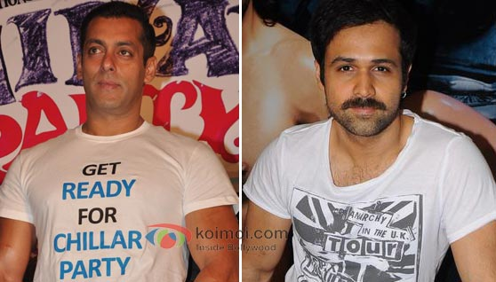 Salman Khan promotions Chillar party and Emraan Hashmi promoting Murder 2