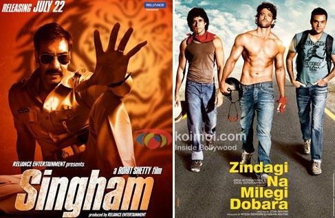 Posters of Singham & Zindagi Na Milegi Dobara