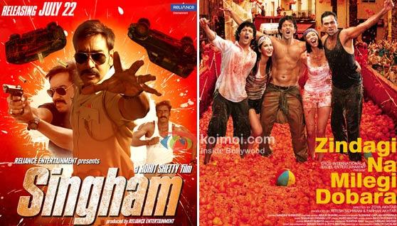 Singham Movie Poster, Zindagi Na Milegi Dobara Movie Poster