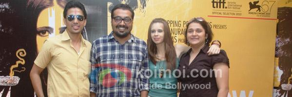 Gulshan Devaiya, Anurag Kashyap, Kalki Koechlin, and Pooja  promote That Girl In Yellow Boots