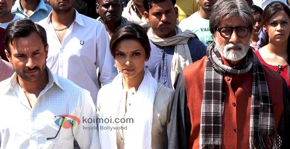 Saif Ali Khan, Deepika Padukone & Amitabh Bachchan in Aarakshan