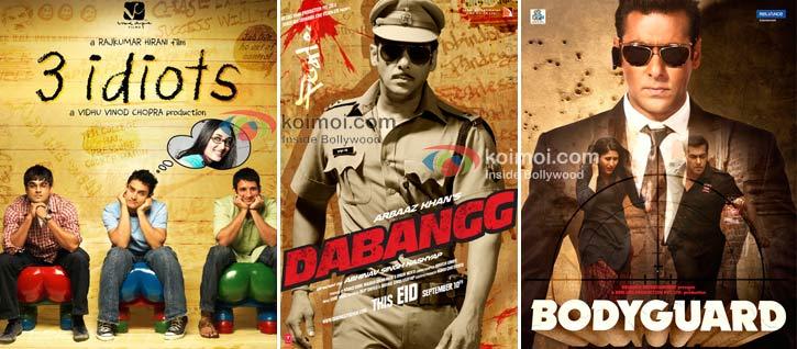 3 Idiots Movie Poster, Dabangg Movie Poster, Bodyguard Movie Poster