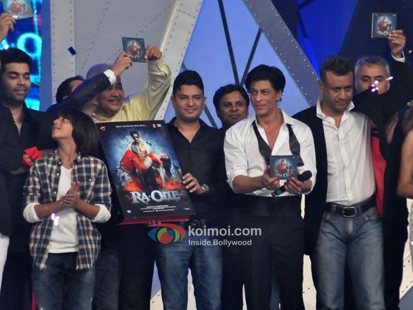 Karan Johar, Sunil A. Lulla, Satish Shah, Bhushan Kumar, Shah Rukh Khan, Anubhav Sinha, Neeraj Roy, Kanika Dhillon At RA.One Music Launch