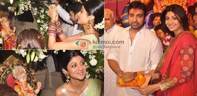 Shilpa Shetty, Raj Kundra At Ganpati Visarjan