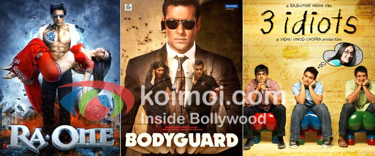 Ra.One Movie Poster, Bodyguard Movie Poster, 3 Idiots Movie Poster
