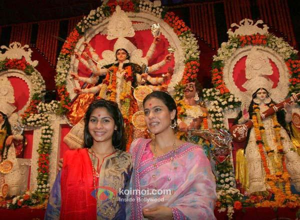 Tanisha Mukherjee, Kajol At Durga Pooja