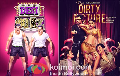 John Abraham, Akshay Kumar in Desi Boyz And Emraan Hashmi, Tusshar kapoor, vidya Balan, Naseeruddin Shah In The Dirty Picture