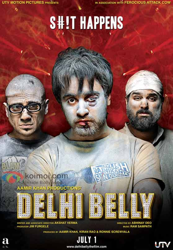 Vir Das, Imran Khan, Kunal Roy Kapoor Delhi Belly Movie Poster