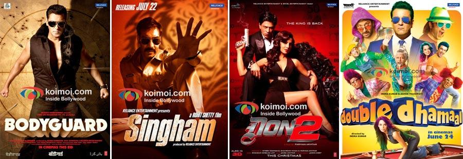 Bodyguard, Singham, Don 2, Double Dhamaal