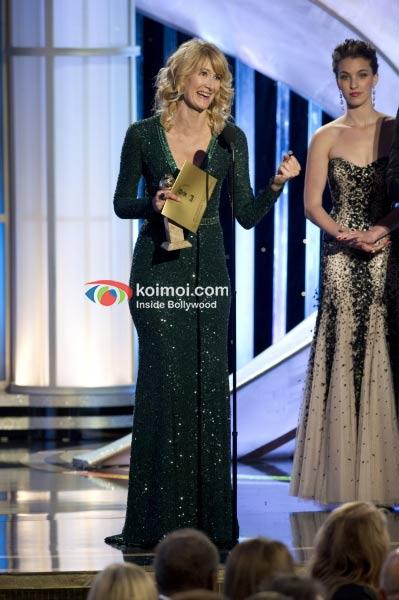 Salma Hayek At Golden Globe 2012 On Stage