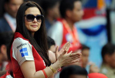 Preity Zinta at IPL match