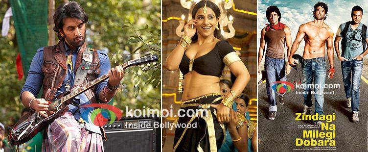 Ranbir Kapoor In Rockstar, Vidya Balan In The Dirty Picture, Zindagi Na Milegi Dobara Movie Poster