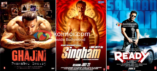 Ghajini, Singham, Ready Movie Poster