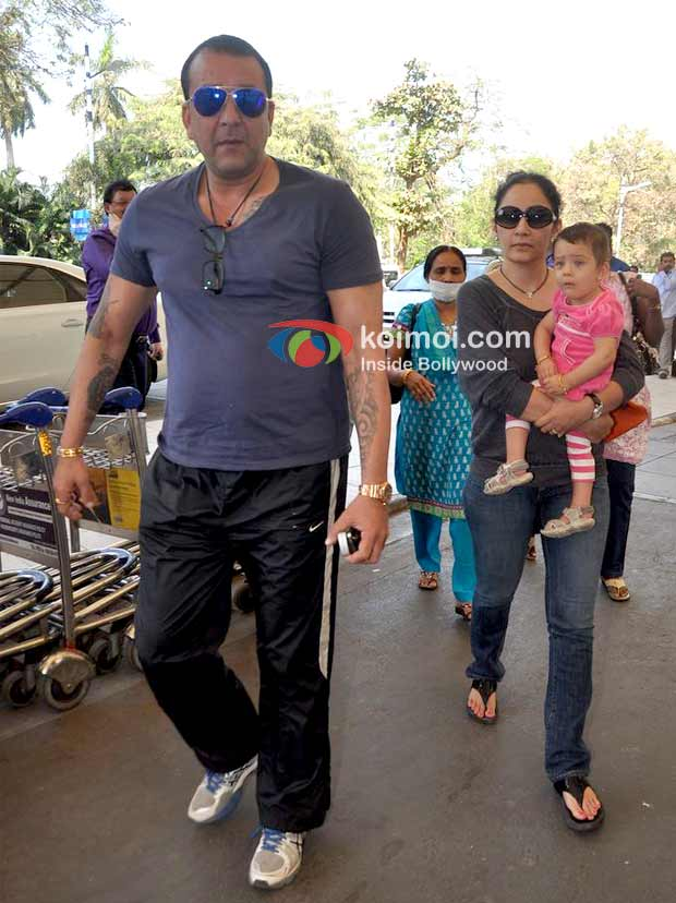 Sanjay Dutt Manyata Leave For Rohit Dhawan S Wedding In Goa