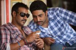 Ajay Devgan and Abhishek Bachchan take a peek in Bol Bachchan Movie Stills