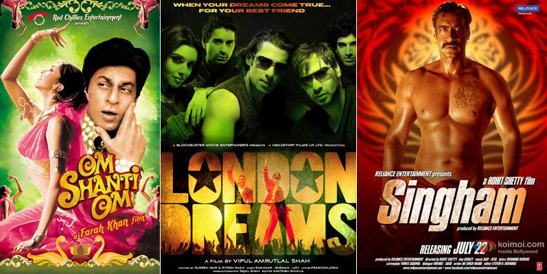 Om Shanti Om, London Dreams & Singham Movie Posters