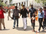 Akshay Kumar with a kid at song shooting of Oh My God movie stills
