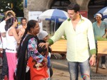 Akshay Kumar with his fan at song shooting of Oh My God movie stills