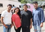 Madhur Bhandarkar, Kareena Kapoor, Ronnie Screwvala and Siddharth Roy Kapur on the set of Heroine Movie Stills
