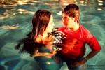 Raima Sen and Sharman Joshi in swiming pool in 3 Bachelors Movie Stills