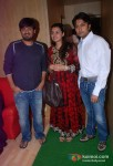 Wajid, Deepshikha Bhagnani Deshmukh, Dheeraj Deshmukh at the song recording of Himmatwala