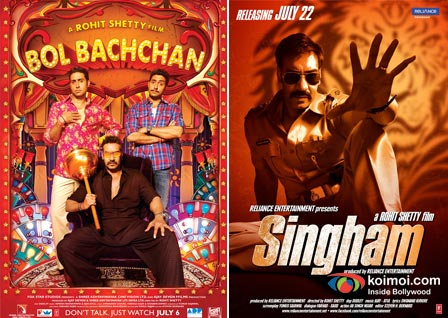 Ajay Devgan, Abhishek Bachchan In Bol Bachchan Movie Poster Ajay Devgan In Singham Movie Poster