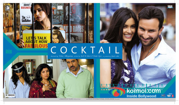 Deepika Padukone, Dimple Kapadi, Boman Irani, Diana Penty, Saif Ali Khan In Cocktail Movie Poster