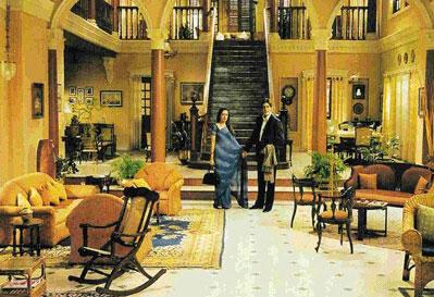 Amitabh Bachchan and Hema Malini on the sets of Baghban at Film City