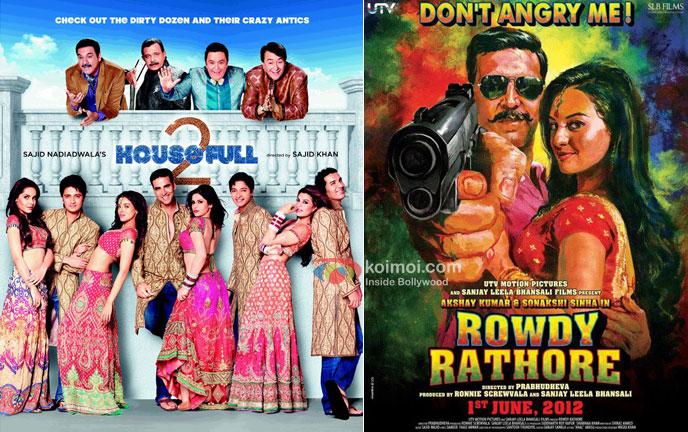 Akshay Kumar in Housefull 2 and Rowdy Rathore Movie Poster