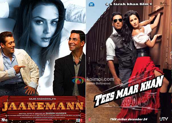 Akshay Kumar in Jaan-E-Mann and Tees Maar Khan Movie Poster