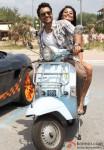 Jackky Bhagnani and Sexy Nidhi Subbaiah having fun on a scooter in Ajab Gazabb Love Movie Stills