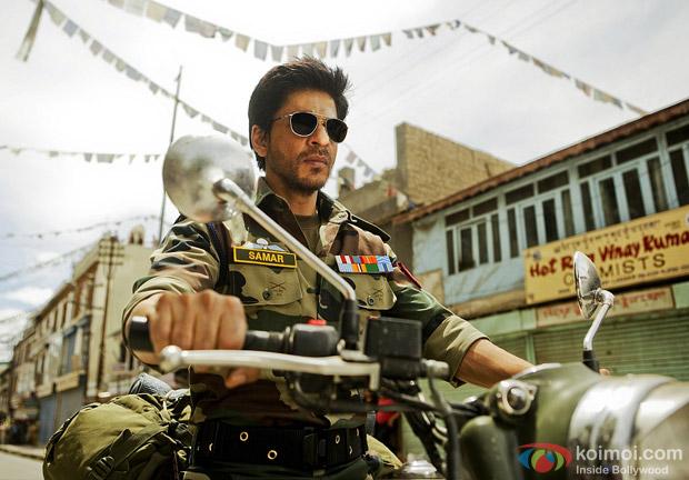 Shah Rukh Khan as a Army Officer ride a bike On The Sets Of Yash Chopra's Next A Yash Chopra Romance Movie Stills in Ladakh