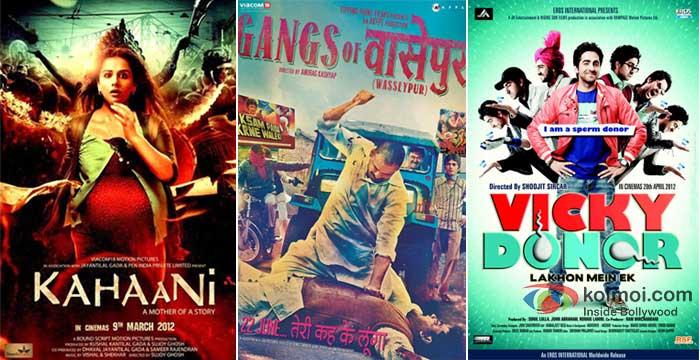 Vidya Balan In Kahaani, Manoj Bajpayee In Gangs Of Wasseypur, Ayushmann Khurrana In Vicky Donor Movie Posters