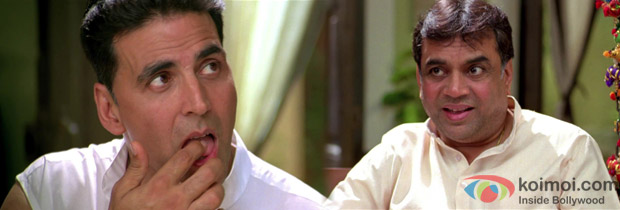 Akshay Kumar and Paresh Rawal in a scene from OMG Oh My God! Movie Stills