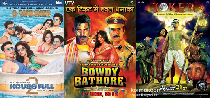 Akshay Kumar In Housefull 2, Rowdy Rathore and Joker Movie Posters