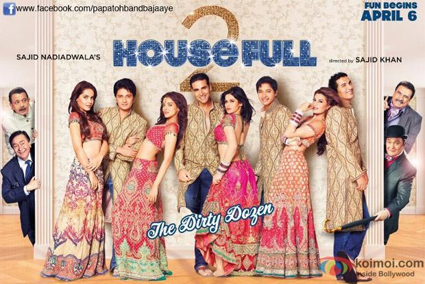 Akshay Kumar, John Abraham, Shreyas Talpade, Ritesh Deshmukh, Asin, Zarine Khan, Jacqueline Fernandez and Shazahn Padamsee starrer Housefull 2 Movie Poster