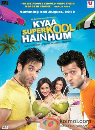 Ritesh Deshmukh, Tusshar Kapoor, Sarah Jane Dias, and Neha Sharma starrer Kyaa Super Kool Hain Hum Movie Poster