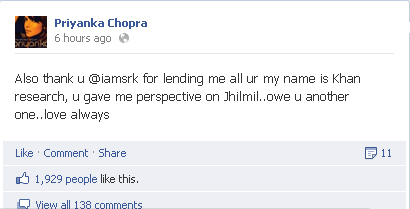 Priyanka Chopra Facebook Comments