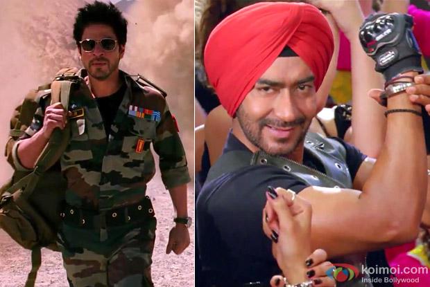 Shah Rukh Khan (Jab Tak Hai Jaan Movie Stills) And Ajay Devgan (Son Of Sardaar Movie Stills))