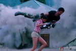 Shah Rukh Khan rescuing Katrina Kaif from a bomb explosion in an action sequence from Jab Tak Hai Jaan Movie Stills
