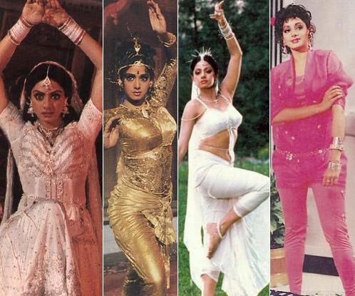 Sridevi in a Still from Nagina, Nigahen, Chandni and Chaalbaaz Movie