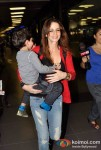 Suzzane Roshan Snapped At Airport With Her Son